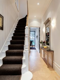 Hallway home design ideas renovations victorian . hallway ideas tile entry traditional with flooring in victorian . Edwardian Haus, Edwardian Hallway, 1930s Hallway, Edwardian Staircase, Modern Hallway, Transitional Living Rooms, Transitional House, Transitional Lighting, Living Room Small