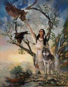 Native American Woman with her favorite Forest Animals