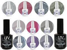 Professional UV Nail Gel Big Collection Bubble Gum Vibrant 4 glitters+6 gels+Base & Top+Aviva Nail Buffer & File. 4 UV-Nails Soak-Off Gel Glitter Polish 0.5 oz:. GL7- GL4 , GL1 GL3. 6 UV-Nails Soak-Off Gel Color Polish 0.5 oz:. G35-Pure Platinum, G44-Candy Apple Red, G34-Silver Bullet, G43-Night Sky, G29-Violets For You, G28-Lady Lavender. 1 UV-Nails Soak-Off Gel Base Coat Polish 0.5 oz.