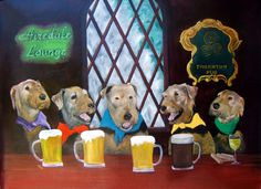 Airedale Terrier Art Print / Happy Hour / by Original by dogwagart, $13.50