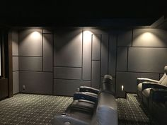Modern Home Theater Design featuring a geometric acoustic panel design.