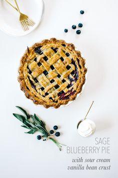 sage blueberry pie with sour cream vanilla bean crust Apple Pie Recipes, Tart Recipes, Caramel Recipes, Blueberry Recipes, Sour Cream, Kale, Sweet Tooth, Sweet Treats, Deserts