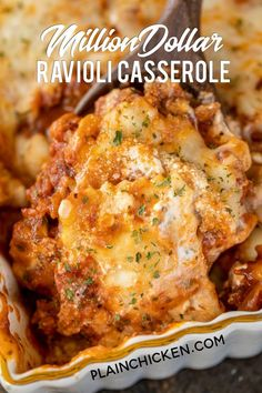 Million Dollar Ravioli Casserole - seriously delicious! - Million Dollar Ravioli Casserole – seriously delicious! Meat sauce, frozen ravioli, and 4 cheeses - Sausage Spaghetti, Spaghetti Sauce, Pasta Casserole, Baked Ravioli Casserole, Ravioli Lasagna Bake, Crock Pot Ravioli, Main Dish Casserole Recipes, Easy Main Dish Recipes, Baked Pasta Dishes