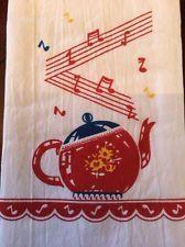 Vintage Style Cotton Flour Sack 50's Kitchen Towels with WHISTLING TEAPOT