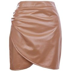 Boohoo Elettra Rouched Side Leather Look Mini Skirt ($20) ❤ liked on Polyvore featuring skirts, mini skirts, faux leather mini skirt, midi circle skirt, beige maxi skirt, beige mini skirt and mini circle skirt