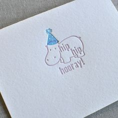 Hip Hip Hooray Happy Birthday Hippo Greeting Card w/Envelope from Paperwheel | Square Market.  Only ships to the US.