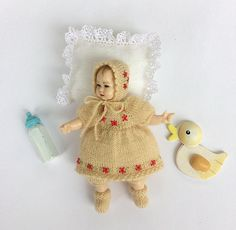 Miniature clothes set for Heidi Ott toddler doll, Outfit includes: dress, pants, bonnet and boots by AnnaToys on Etsy