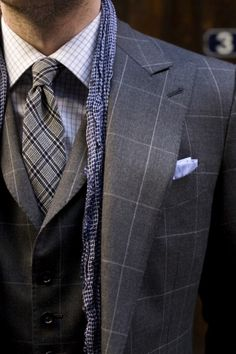 Solid proof that a charcoal check three piece suit and a white and blue plaid dress shirt look amazing when you pair them up in an elegant ensemble for today's gentleman. Gentleman Mode, Gentleman Style, Sharp Dressed Man, Well Dressed Men, Mens Fashion Blog, Look Fashion, Fashion Shoot, Winter Fashion, Costume Gris