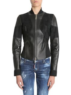 Dsquared - Leather Jacket With Suede And Patent Leather Insert