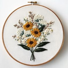 Wildflower bouquet embroidery pattern by floralsandfloss Floral Embroidery Patterns, Simple Embroidery, Modern Embroidery, Hand Embroidery Designs, Embroidery Kits, Embroidery Stitches, Cactus Embroidery, Butterfly Embroidery, Creative Embroidery
