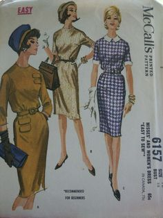 Vintage 1961 Easy to Sew For Beginners McCall's 6157 Sheath Belted Dress Slim Skirt  Misses Pattern Size 18 Bust 38 by LadyJanetvintage on Etsy https://www.etsy.com/listing/105194343/vintage-1961-easy-to-sew-for-beginners