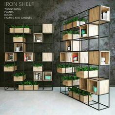 Iron shelf – Home Decoration Office Interior Design, Office Interiors, Iron Furniture, Furniture Design, Regal Design, Iron Shelf, Shelf Design, Bookshelves, Bookshelf Ideas
