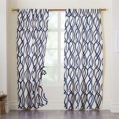 west elm Cotton Canvas Scribble Lattice Curtains (Set of 2) - Midnight Blue