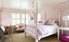 Traditional Home. Benjamin Moore French Lilac on bed. Eleanor Cummings designer, John Robshaw, textiles