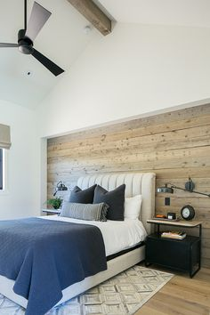 a modern farmhouse bedroom with a statement neutral colored shiplap wall that ad. - a modern farmhouse bedroom with a statement neutral colored shiplap wall that adds coziness and hel - Modern Farmhouse Bedroom, Modern Bedroom, Home Bedroom, Bedroom Decor, Accent Wall Bedroom, Bedroom With Wood Wall, Barn Wood Walls, Ideas Habitaciones, New Room
