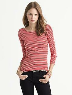 I'm really hoping the fit is nice on this, because I think it's adorable and will be perfect for layering or wearing on its own. (Originally $39.50, I paid $15) // Banana Republic Mini-Stripe Timeless Tee