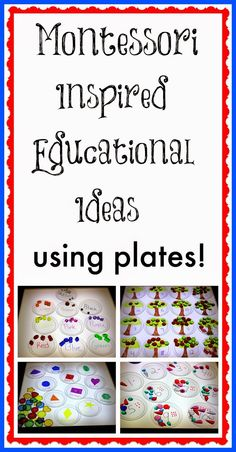 Montessori inspired educational ideas using plates--can be adjusted using fractions and/or multiplication/division facts Montessori Activities, Educational Activities, Learning Activities, Preschool Activities, Preschool At Home, Preschool Math, Kindergarten Math, Maths, Learning Time