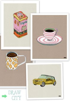 Illustrations by Draw City.  Love the tea tin and tea cup