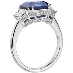 Blue Nile Blue Sapphire and Diamond Three-Stone Ring (41 665 AUD) ❤ liked on Polyvore featuring jewelry, rings, blue sapphire diamond ring, diamond jewellery, blue sapphire ring, blue diamond rings and blue jewelry