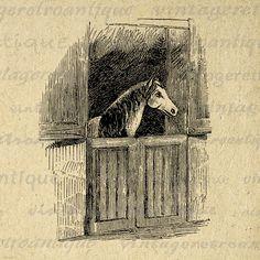 Printable Horse in Stable Graphic Digital Download Image Illustration Vintage Clip Art Jpg Png Eps 18x18 HQ 300dpi No.2356 @ vintageretroantique.etsy.com #DigitalArt #Printable #Art #VintageRetroAntique #Digital #Clipart #Download