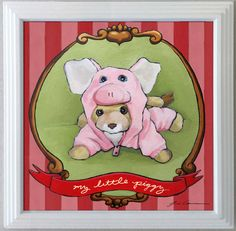 lion in a pig suit print for nursery childrens' by PlushPortraits