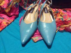 SOLD!! Women Ladies Van Eli Light Blue Leather Pointed Toe Slingbacks Pumps Flats 9 M #VanEli #Slingbacks #WeartoWork