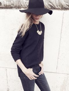 Madewell Easy cable pullover sweater worn with the biltmore® & Madewell floppy felt fedora + Sheetdash necklace