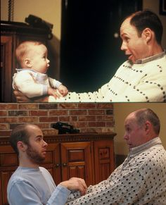 Then and Now: 10 Childhood Photos Recreated. Recreating childhood photos is a way to preserve family memories. These are just hilarious. Funny Cute, The Funny, Funny Drunk, 9gag Funny, Funny Stuff, Funny Fails, Daily Funny, Childhood Photos Recreated, Hilarious Stuff