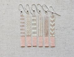 Long Pink and Transparent Silver Lined /Chevron Pattern/ Stripe Pattern/ Dot Pattern/ Bar Earrings