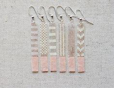 Long Pink and Transparent Silver Lined /Chevron Pattern/ Stripe Pattern/ Dot Pattern/ Bar Earrings