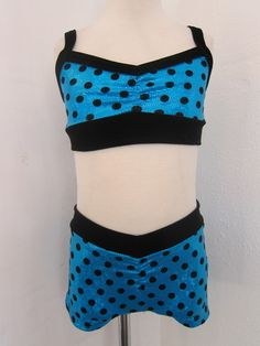 Sadie Jane Dancewear - Blue with Black Velvet Polka Dots