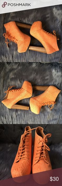 Orange Crochet Lace Chunky Platform High Heels LIKE NEW! Only worn once for a photo shoot. Jeffrey Campbell inspired chunky platform orange crochet lace high heels. Boho bohemian dream Shoes Platforms