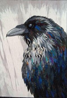 My Inner Raven Art Quilt on Cloth, by Cat Larrea Fine Art Quilts, First Place: Art-Minatures; Crow Art, Raven Art, Bird Art, Vogel Quilt, Raven Feather, Blue Raven, International Quilt Festival, Bird Quilt, Crows Ravens