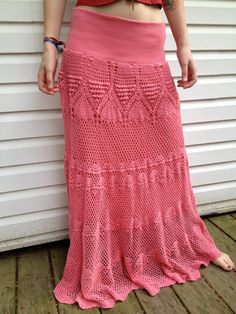 Vintage Long Peach Crocheted Skirt by EuphoriaNineDesigns on Etsy, $24.00