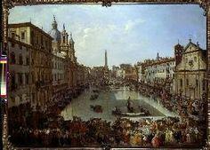 Piazza Navona a Roma impostato sott'acqua. Giovanni Paolo Pannini