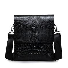 2016 New fashion high quality men bag business casual Men crocodile leather Messenger  bags alligator shoulder bag black-in Crossbody Bags from Luggage ... e51ece8e35ec8