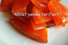 hatay usulü kabak tatlısı | TABLET YEMEK TARİFLERİ Turkish Recipes, Granola, Delicious Desserts, Deserts, Food And Drink, Sweets, Fruit, Cooking, Healthy
