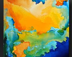 Items similar to Laguna 2 - Abstract Acrylic Painting - - Small Square Fine Art Orignal on Canvas on Etsy Watercolor Tips, Watercolor Techniques, Using Acrylic Paint, Acrylic Painting Canvas, Abstract Expressionism, Abstract Art, Taste The Rainbow, Modern Colors, Acrylic Pouring