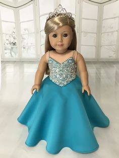 OOAK Pageant Dress Ball Gown for American Girl doll jade OOAK Pageant Dress Ball Gown for American Girl doll jade – American Girl Doll Clothes by Rocio American Girl Outfits, American Girl Doll Costumes, American Girl Doll Pictures, American Doll Clothes, Girl Doll Clothes, American Doll Stuff, Barbie Clothes, American Girl Hairstyles, American Girl Doll Shoes