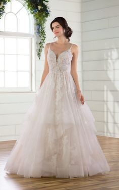 Romantic Shimmery Tiered Ballgown -