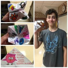 "In 8th grade we are doing a fun unit with amusement park and zoo vocabulary. Yesterday we made paper fortune tellers (""comecocos"" in Spanish) to determine what animal each student was. First, we le..."