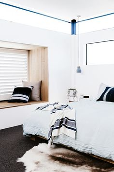 This modern Australian beach house has a natural, authentic and pared-back design style. The amazing renovation was done in an incredible 13 weeks. Beach House Bedroom, Home Decor Bedroom, Bedroom Ideas, Bedroom Green, Master Bedroom, Linen Bedroom, Master Bath, Coastal Bedrooms, Attic Bedrooms