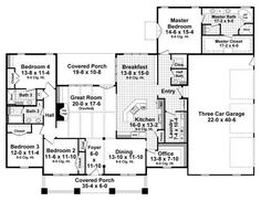 plancollection.com plan #141-1038 Interesting - take office off front & scoot laundry room back to have bigger mud room?  Could be workable.