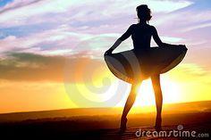 Silhouette Of Girl In Short Dress Stock Photo - Image: 15235630