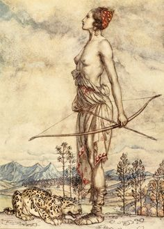 A depiction by Arthur Rackham of the Roman goddess of the hunt, Diana, for John Milton's Comus.