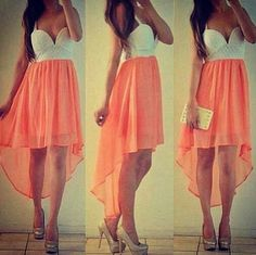 coral high low dress. It's so pretty.