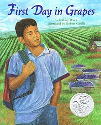First Day in Grapes Cover. All year long Chico and his family move up and down the state of California picking fruits and vegetables. Every September they pick grapes and Chico starts at a new school again. Often other children pick on him — maybe because he is always new or maybe because he speaks Spanish sometimes. When the fourth-grade bullies confront Chico in the lunchroom, he responds wisely with strengths of his own. #ELA #CommonCore #CCSS #literacy #readaloud #lessonplan…
