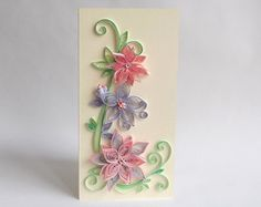 Paper Quilled Flower Card Red Flower Card Simple by ElinaQuills