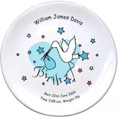 Personalised Baby Boy Birth Plate - Stork Design - £16.99 #NewBaby #PersonalisedBabyGifts #NewBabyGifts