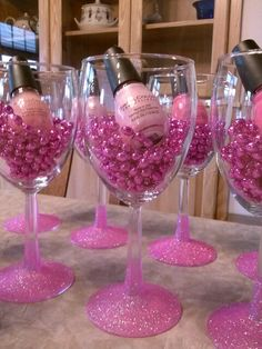 Bachelorette party favors nail polish glitter wine glass idea More
